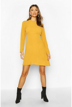 Womens Yellow High Neck Smock Dress