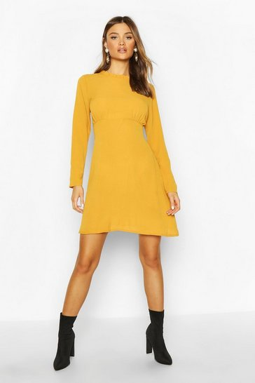 Yellow High Neck Smock Dress