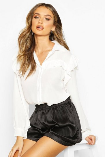 Womens White Ruffle Detail Shirt