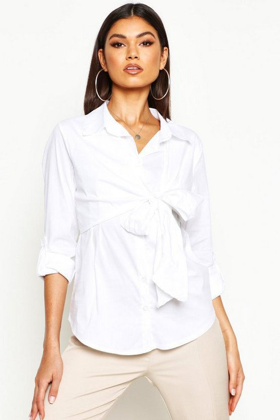 Womens White Cotton Knot Front Shirt