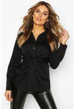 Womens Black Cotton Twist Front Shirt