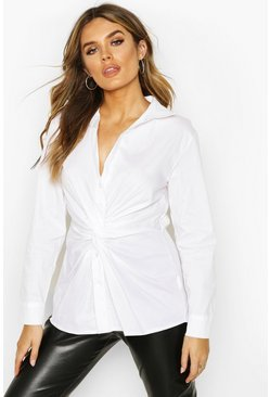 Womens White Cotton Twist Front Shirt