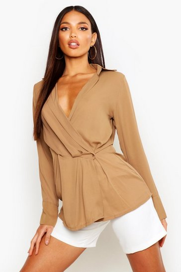 Womens Camel Wrap Front Drape Detail Shirt