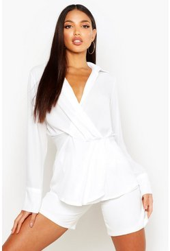 White Wrap Front Drape Detail Shirt