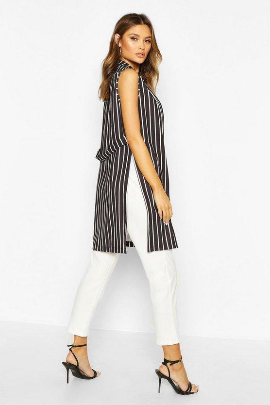 Stripe Sleeveless Duster