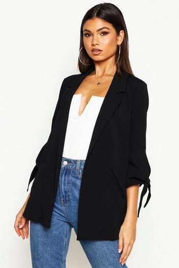 Womens Black Tie Sleeve Detail Edge To Edge Blazer