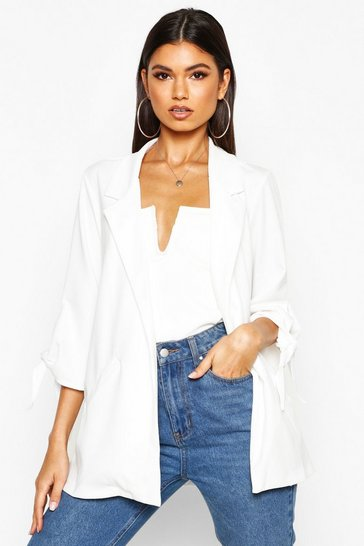 Womens Ivory Tie Sleeve Detail Edge To Edge Blazer