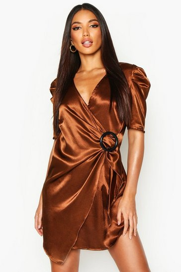 Womens Rust Puff Sleeve Wrap Buckle Detail Dress