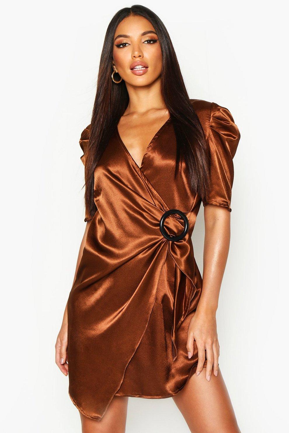 ba83bd091 Womens Rust Puff Sleeve Wrap Buckle Detail Dress