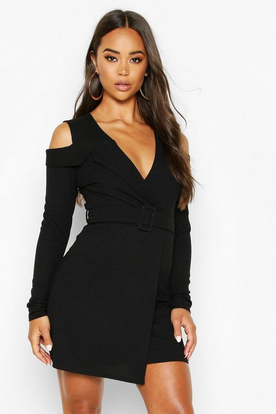 Womens Black Rib Cold Shoulder Skater Dress