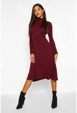 Womens Berry Roll Neck Long Sleeve Midi Skater Dress