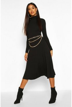 Womens Black Roll Neck Long Sleeve Midi Skater Dress