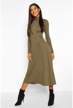 Khaki Roll Neck Long Sleeve Midi Skater Dress