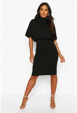Womens Black High Neck Belted Midi Dress