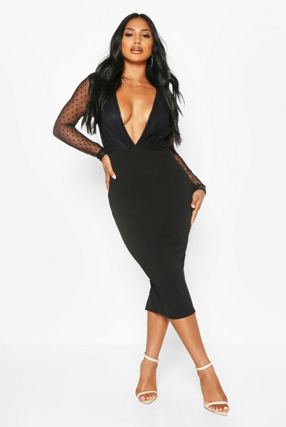 Black Dobby Plunge Long Sleeve Midi Dress