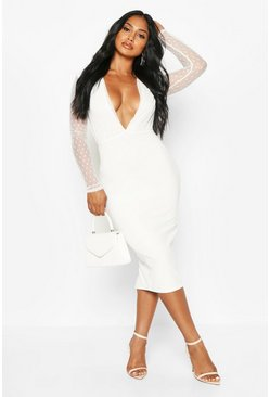 Womens White Dobby Plunge Long Sleeve Midi Dress