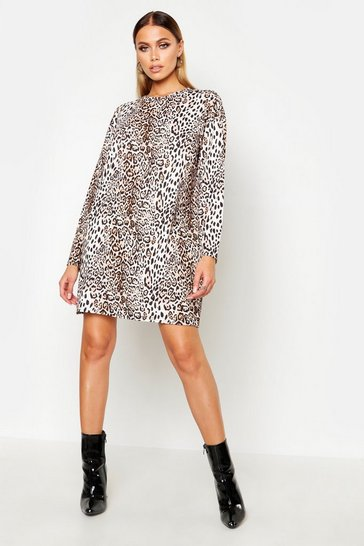 Womens Brown Leopard Longsleeve T-Shirt Dress