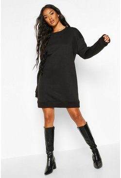 Black Ribbed Hem Oversized Sweatshirt Dress