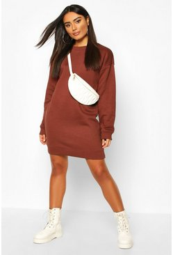 Womens Chocolate Ribbed Hem Oversized Sweatshirt Dress