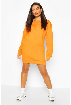 Orange Ribbed Hem Oversized Sweatshirt Dress