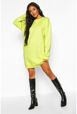 Washed lime Ribbed Hem Oversized Sweatshirt Dress