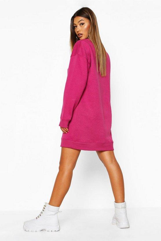 Slogan Rib Hem Oversized Sweatshirt Dress