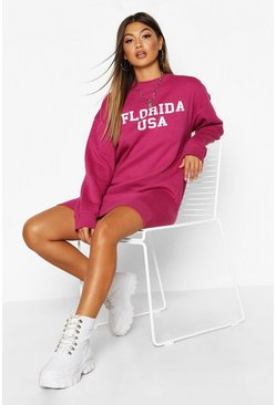 Womens Raspberry Slogan Rib Hem Oversized Sweatshirt Dress