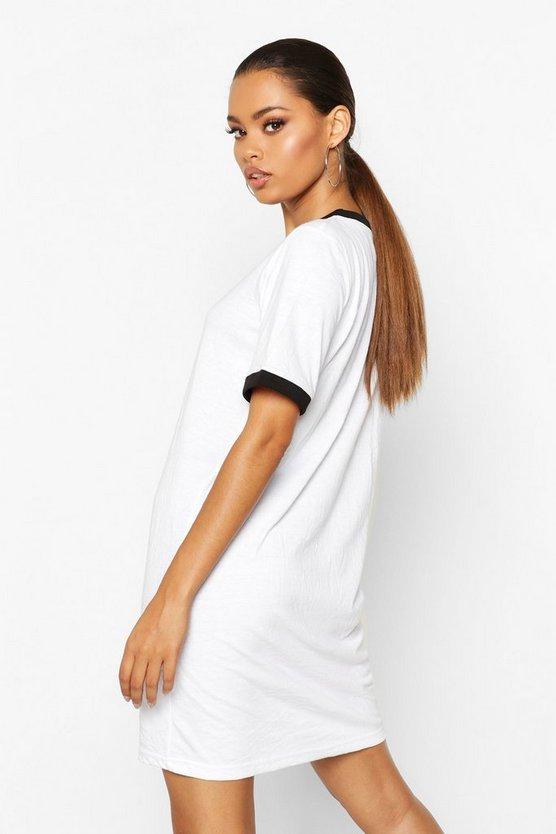 Ringer Cotton Oversized T-Shirt Dress