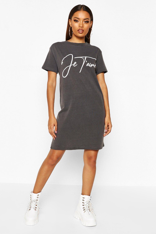 7e4ae2d92d Je'Taime Washed Oversized T-Shirt Dress   Boohoo