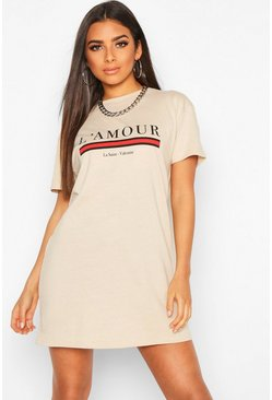 Robe t-shirt oversize L'amour, Camel