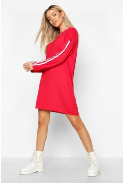 Womens Red Long Sleeve contrast Stripe T-Shirt Dress