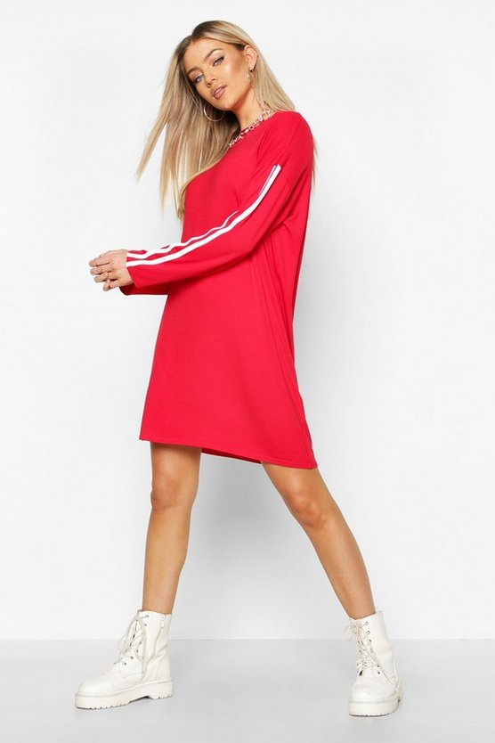 Long Sleeve contrast Stripe T-Shirt Dress