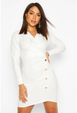 White Button Pleated Detail Blazer Dress