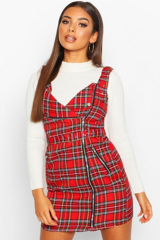 Red Check Biker Detail Pinny Dress