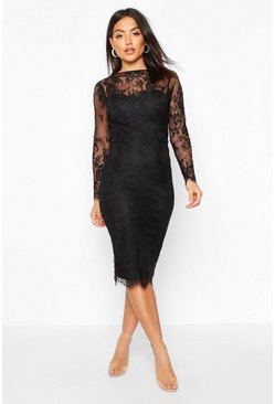 Black Lace Sleeve Cupped Midi Dress