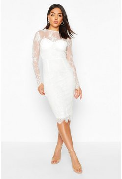 Womens White Lace Sleeve Cupped Midi Dress