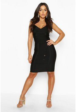 Womens Black Boutique Bandage Tie Detail Mini Dress
