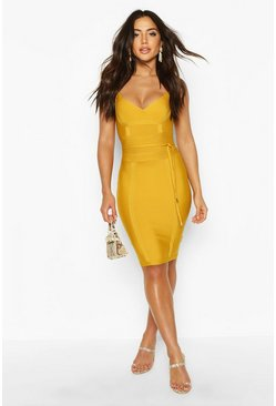 Womens Mustard Boutique Bandage Tie Detail Mini Dress