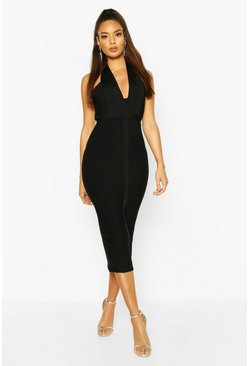 Womens Black Boutique Bandage Plunge Midi Dress