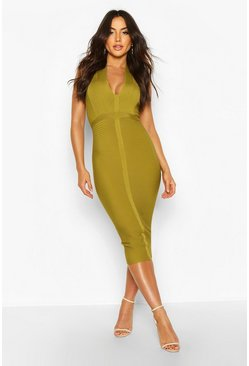 Chartreuse Boutique Bandage Plunge Midi Dress