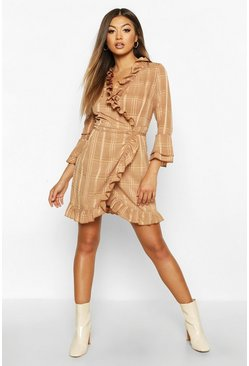 Chocolate Woven Check Wrap Frill Tea Dress