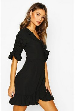 Black Woven Extreme Ruffle Tea Dress