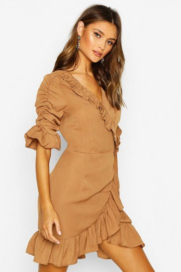 Womens Camel Woven Extreme Ruffle Tea Dress
