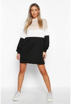 Womens Black Colour Block Oversized Sweatshirt Dress