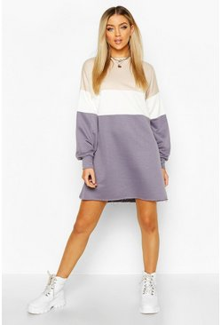 Womens White Colour Block Oversized Sweatshirt Dress