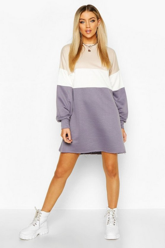 Colour Block Oversized Sweatshirt Dress
