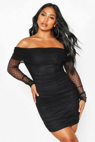 Black Dobby Off Shoulder Long Sleeve Mini Dress