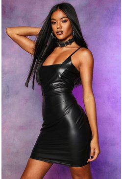 Womens Black Faux Leather Seam Detail Mini Dress