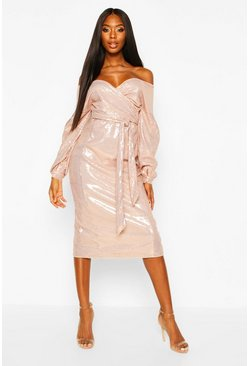 Womens Rose gold Sequin Off The Shoulder Tie Waist Midi Dress