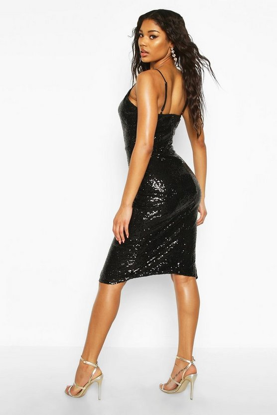 Sequin Cowl Neck Side Split Midi Dress